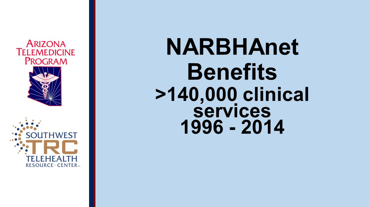 © 2014 UA Board of Regents NARBHAnet Benefits >140,000 clinical services 1996 - 2014