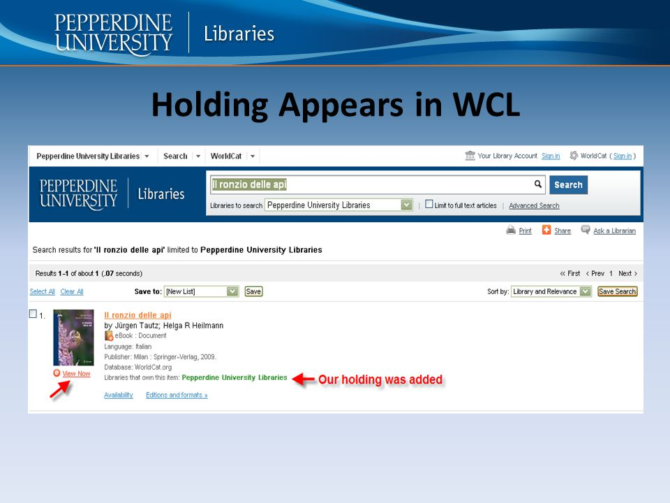 Holding Appears in WCL