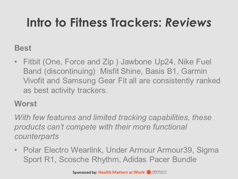 Intro to Fitness Trackers: Reviews Best Fitbit (One, Force and Zip ) Jawbone Up24, Nike Fuel Band (discontinuing) Misfit Shine, Basis B1, Garmin Vivofit and Samsung Gear Fit all are consistently ranked as best activity trackers.
