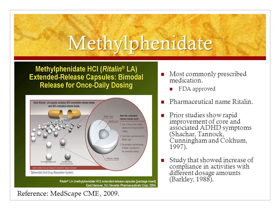Methylphenidate Most commonly prescribed medication.
