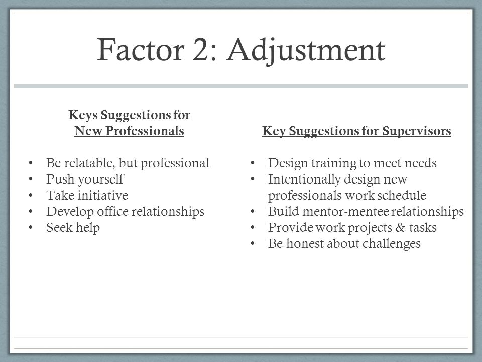 Factor 3: Supervision Developing a personal supervision style and learning to trust personal judgment.
