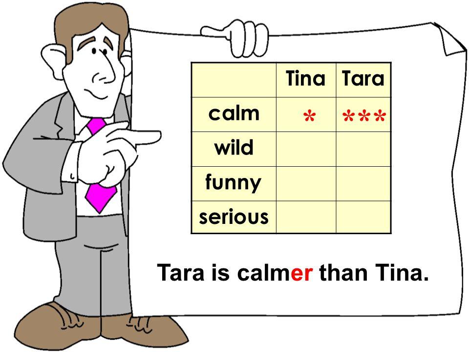 TomNick TinaTara calm wild funny serious * *** Tara is calmer than Tina.