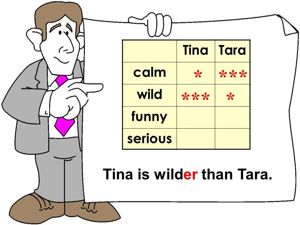 TomNick TinaTara calm wild funny serious * *** Tina is wilder than Tara.