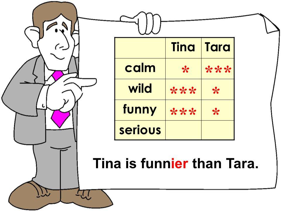 TomNick TinaTara calm wild funny serious * *** Tina is funnier than Tara.