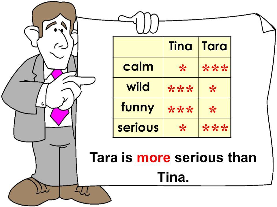 TomNick TinaTara calm wild funny serious * *** Tara is more serious than Tina.