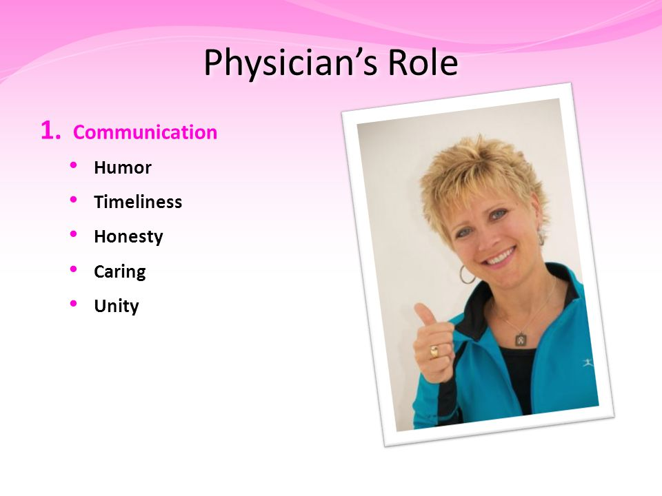 Physician's Role 1. Communication Humor Timeliness Honesty Caring Unity