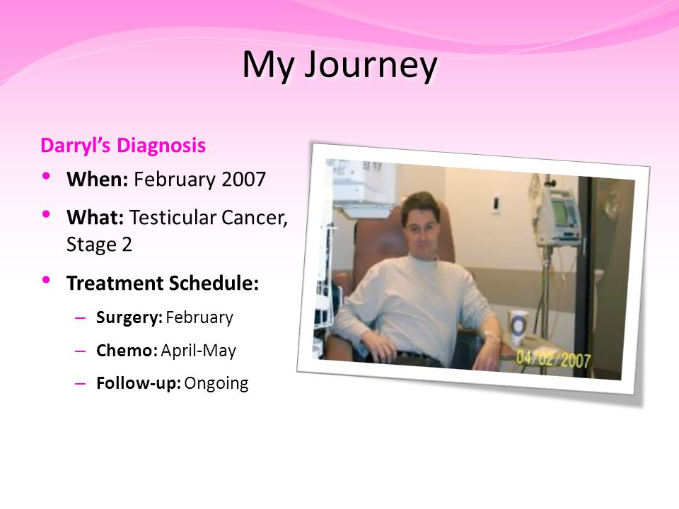 Darryl's Diagnosis When: February 2007 What: Testicular Cancer, Stage 2 Treatment Schedule: – Surgery: February – Chemo: April-May – Follow-up: Ongoing