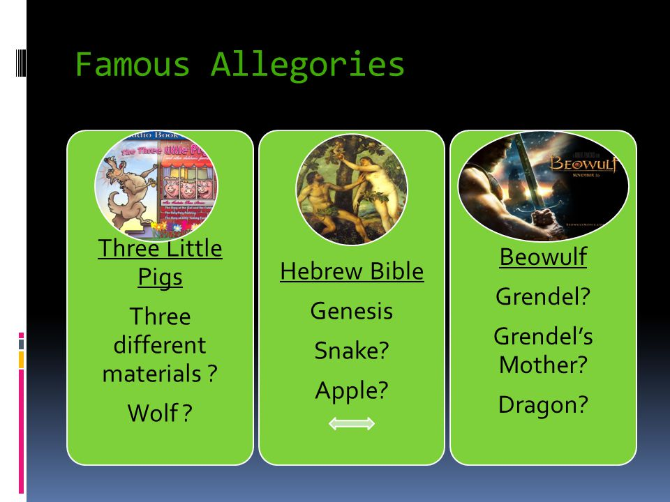 Famous Allegories Three Little Pigs Three different materials .