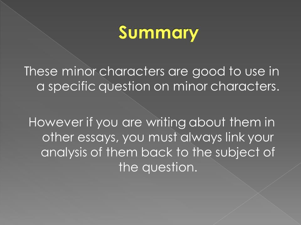 These minor characters are good to use in a specific question on minor characters. However if you are writing about them in other essays, you must alw
