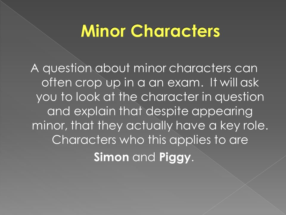 A question about minor characters can often crop up in a an exam. It will ask you to look at the character in question and explain that despite appear