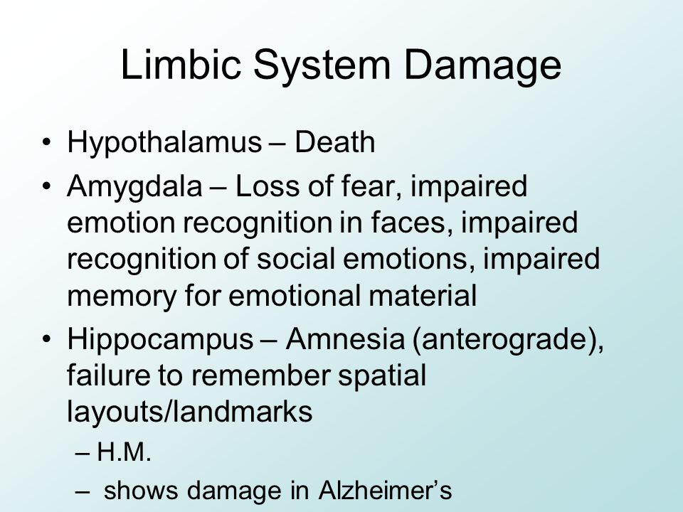 Limbic System Damage Hypothalamus – Death Amygdala – Loss of fear, impaired emotion recognition in faces, impaired recognition of social emotions, imp
