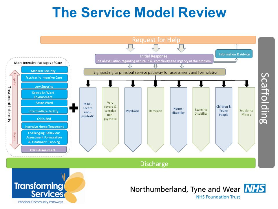 Other Key Services in Sunderland: High spec (RAID-esque) Psychiatric Liaison Team (Jan 2014) Street Triage (from Sept 2014) Court and Custody Diversion (2013) Transformation of Community Pathways (PCP- late 2014) Home treatment alternatives for patients with LD/ OPS service needs- ongoing Extended Hours Urgent-Care Consultant Working- (Nov-2014)