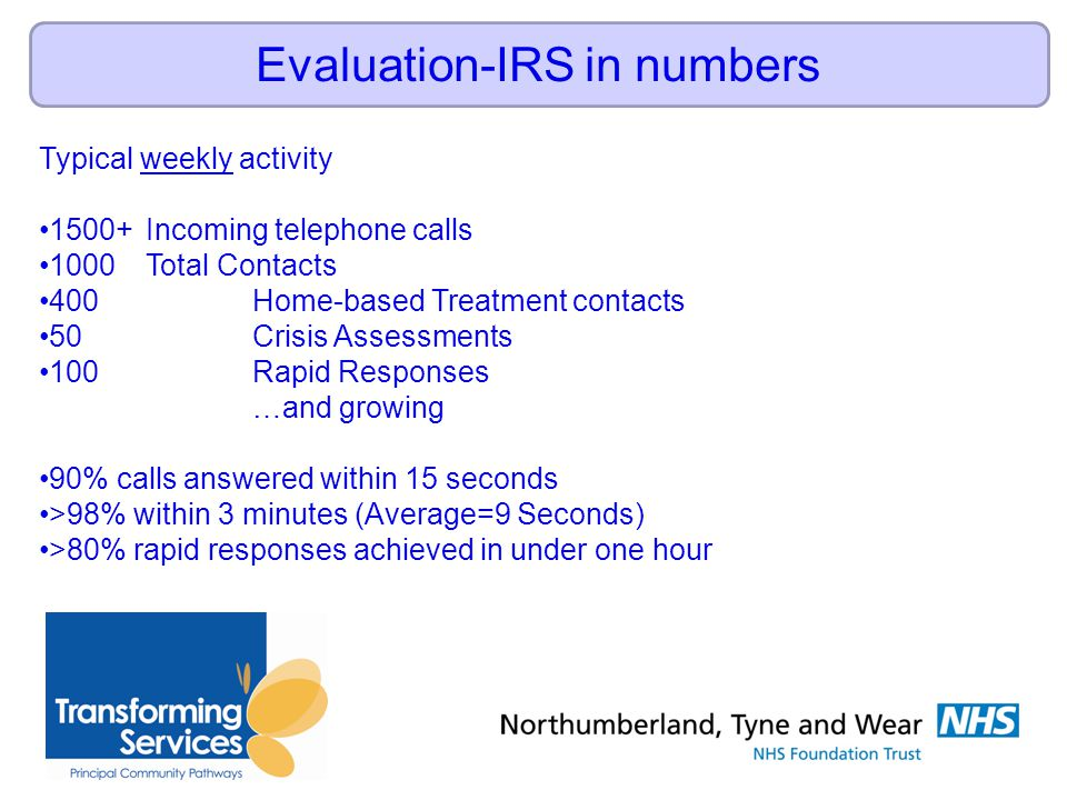 Evaluation-IRS in numbers Typical weekly activity 1500+Incoming telephone calls 1000 Total Contacts 400 Home-based Treatment contacts 50 Crisis Assessments 100 Rapid Responses …and growing 90% calls answered within 15 seconds >98% within 3 minutes (Average=9 Seconds) >80% rapid responses achieved in under one hour