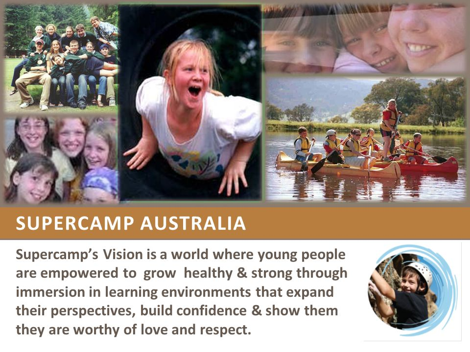 STAGE 1: CREATING THE MODEL - 1990 -2001 A DREAM IS BORN – 1990, Perth, Western Australia In the Spring of 1991, the first Supercamps were held at Nanga Bush Camp in Western Australia.