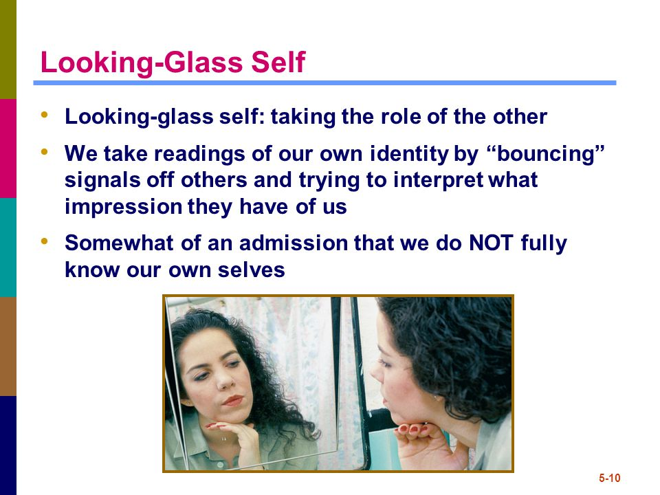 "5-10 Looking-Glass Self Looking-glass self: taking the role of the other We take readings of our own identity by ""bouncing"" signals off others and try"