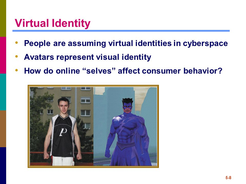 "5-8 Virtual Identity People are assuming virtual identities in cyberspace Avatars represent visual identity How do online ""selves"" affect consumer beh"