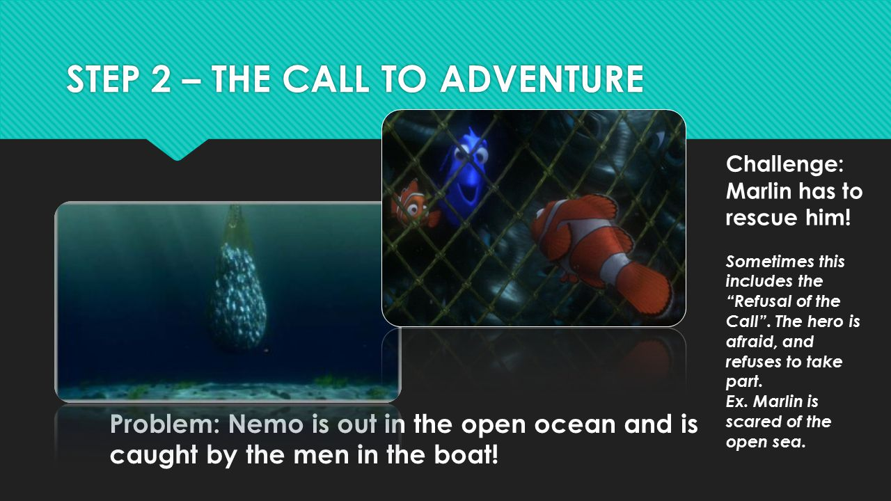 STEP 2 – THE CALL TO ADVENTURE Problem: Nemo is out in the open ocean and is caught by the men in the boat! Challenge: Marlin has to rescue him! Somet