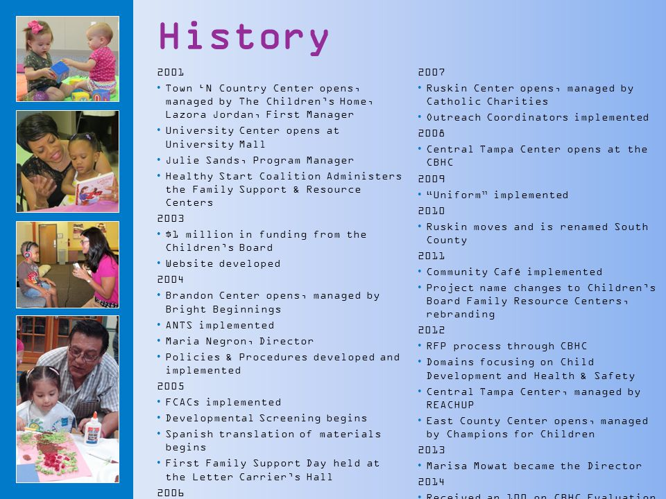 History 2001 Town 'N Country Center opens, managed by The Children's Home, Lazora Jordan, First Manager University Center opens at University Mall Julie Sands, Program Manager Healthy Start Coalition Administers the Family Support & Resource Centers 2003 $1 million in funding from the Children's Board Website developed 2004 Brandon Center opens, managed by Bright Beginnings ANTS implemented Maria Negron, Director Policies & Procedures developed and implemented 2005 FCACs implemented Developmental Screening begins Spanish translation of materials begins First Family Support Day held at the Letter Carrier's Hall 2006 North Tampa opens, managed by Bright Beginnings Mobile Services implemented 2007 Ruskin Center opens, managed by Catholic Charities Outreach Coordinators implemented 2008 Central Tampa Center opens at the CBHC 2009 Uniform implemented 2010 Ruskin moves and is renamed South County 2011 Community Café implemented Project name changes to Children's Board Family Resource Centers, rebranding 2012 RFP process through CBHC Domains focusing on Child Development and Health & Safety Central Tampa Center, managed by REACHUP East County Center opens, managed by Champions for Children 2013 Marisa Mowat became the Director 2014 Received an 100 on CBHC Evaluation 2015 Central Tampa expands
