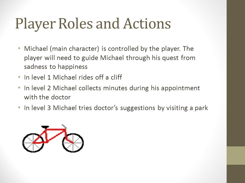 Player Roles and Actions Michael (main character) is controlled by the player. The player will need to guide Michael through his quest from sadness to