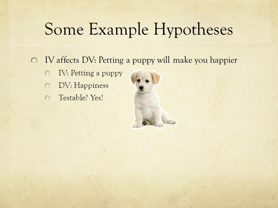 Some Example Hypotheses IV affects DV: Petting a puppy will make you happier IV: Petting a puppy DV: Happiness Testable.