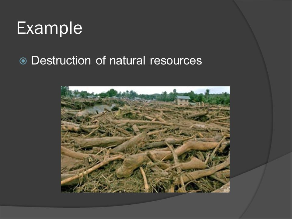 Example  Destruction of natural resources