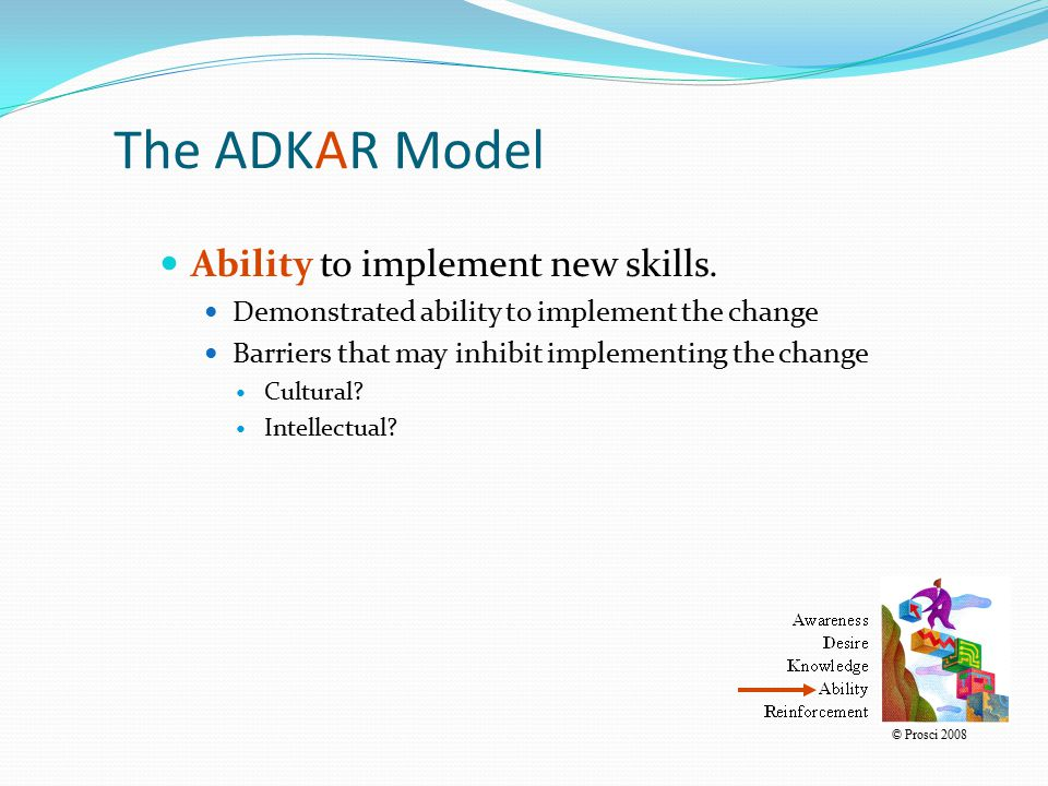 The ADKAR Model Ability to implement new skills.