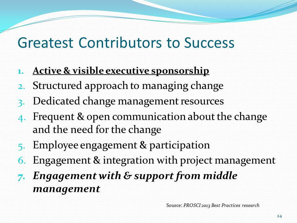 Greatest Contributors to Success 1. Active & visible executive sponsorship 2.