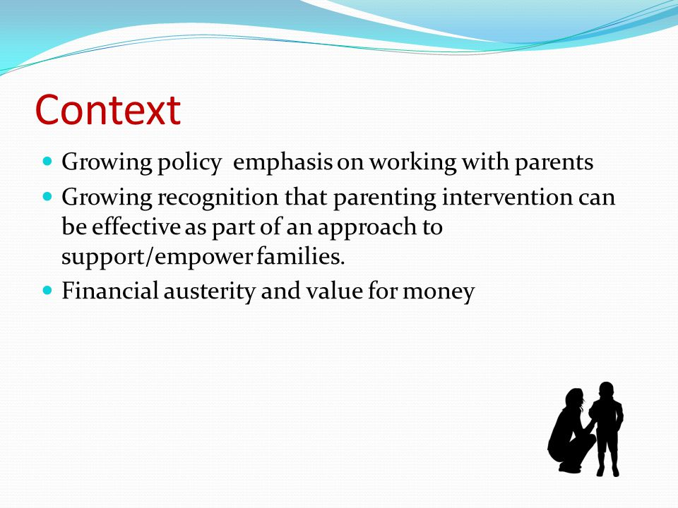 Purpose The research aims to review the impact of an existing parenting programme within one English Local Authority This programme is one strand of an existing comprehensive programme of parenting support provided by the Local Authority.