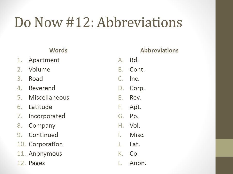 Do Now #12: Abbreviations Words 1.Apartment 2.Volume 3.Road 4.Reverend 5.Miscellaneous 6.Latitude 7.Incorporated 8.Company 9.Continued 10.Corporation 11.Anonymous 12.Pages Abbreviations A.Rd.