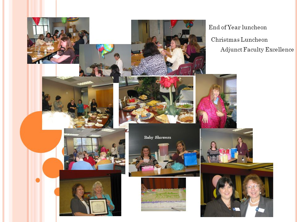 End of Year luncheon Baby Showers Christmas Luncheon Wedding Bell! Adjunct Faculty Excellence
