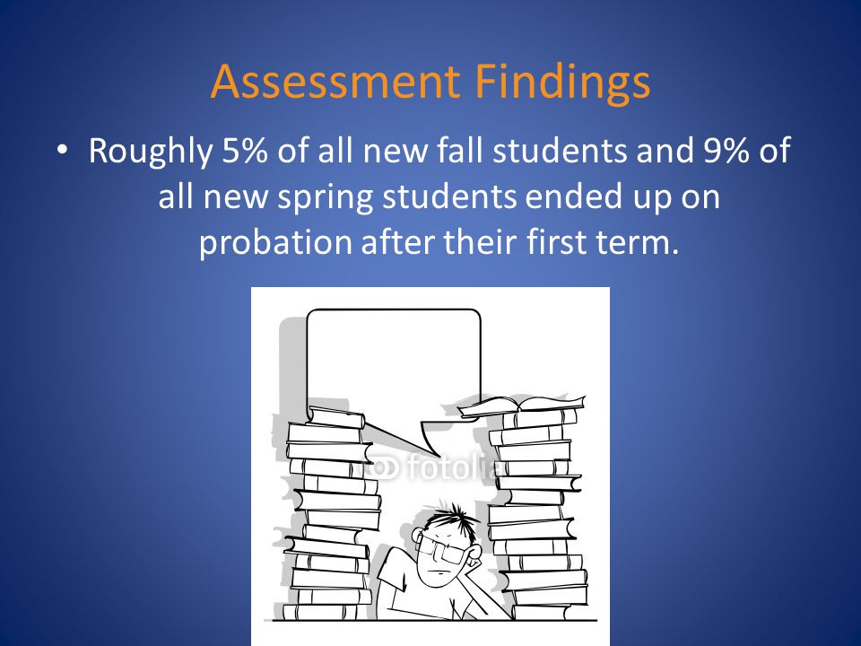 Assessment Findings Roughly 5% of all new fall students and 9% of all new spring students ended up on probation after their first term.