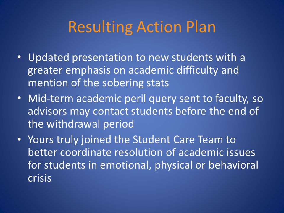 Resulting Action Plan Updated presentation to new students with a greater emphasis on academic difficulty and mention of the sobering stats Mid-term academic peril query sent to faculty, so advisors may contact students before the end of the withdrawal period Yours truly joined the Student Care Team to better coordinate resolution of academic issues for students in emotional, physical or behavioral crisis