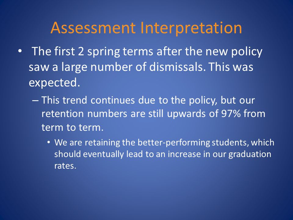 Assessment Interpretation The first 2 spring terms after the new policy saw a large number of dismissals.