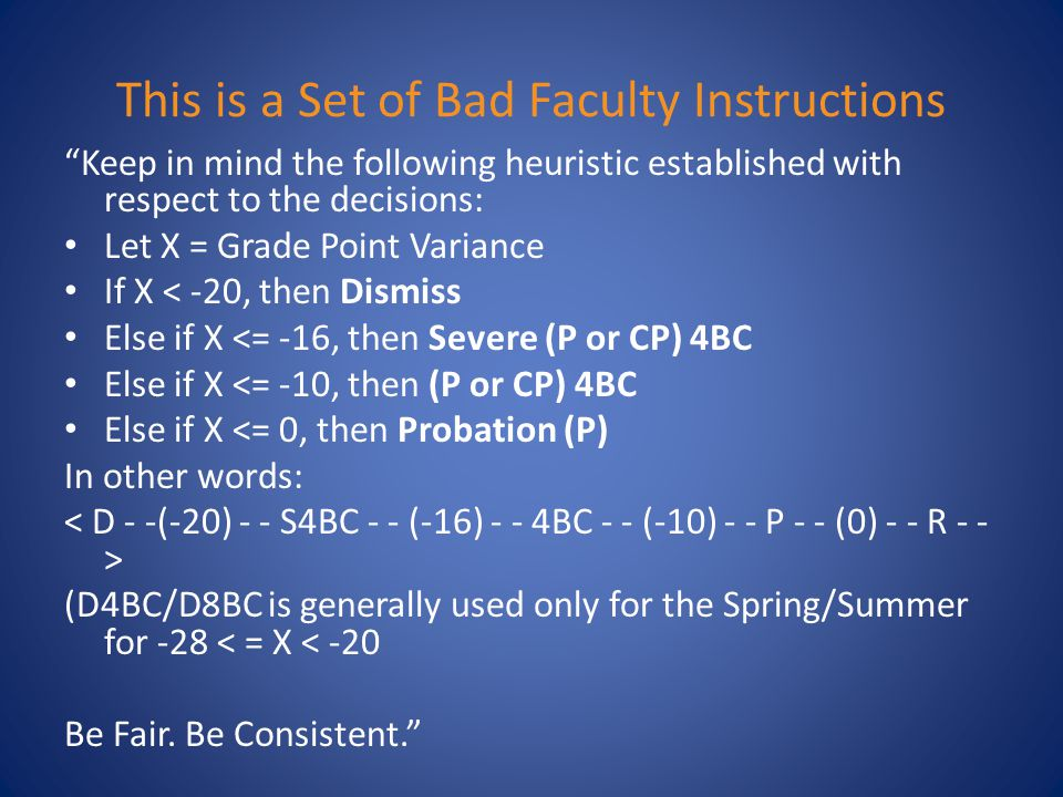 This is a Set of Bad Faculty Instructions Keep in mind the following heuristic established with respect to the decisions: Let X = Grade Point Variance If X < -20, then Dismiss Else if X <= -16, then Severe (P or CP) 4BC Else if X <= -10, then (P or CP) 4BC Else if X <= 0, then Probation (P) In other words: (D4BC/D8BC is generally used only for the Spring/Summer for -28 < = X < -20 Be Fair.
