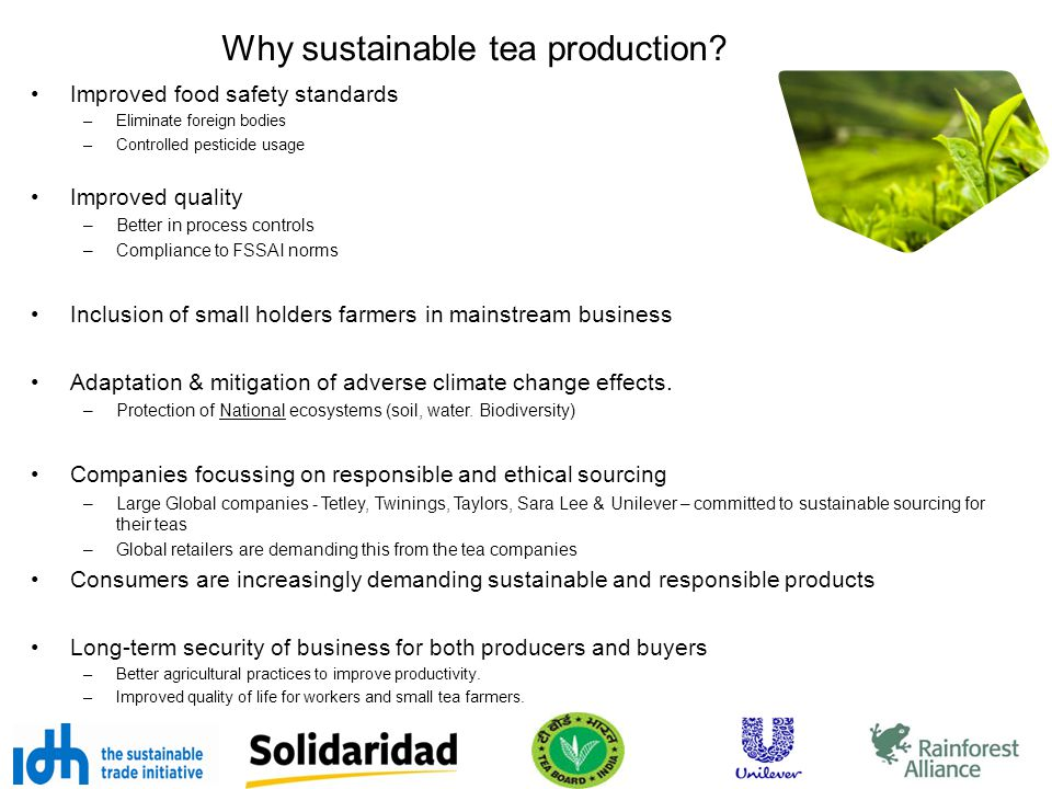 Why sustainable tea production? Improved food safety standards –Eliminate foreign bodies –Controlled pesticide usage Improved quality –Better in proce