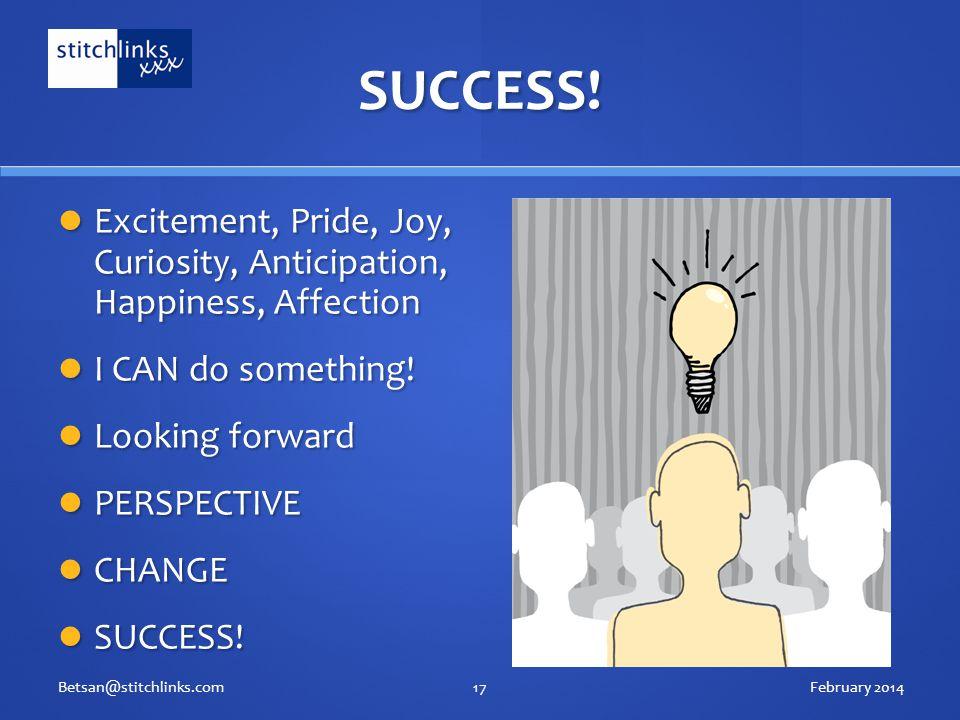 SUCCESS! Excitement, Pride, Joy, Curiosity, Anticipation, Happiness, Affection Excitement, Pride, Joy, Curiosity, Anticipation, Happiness, Affection I