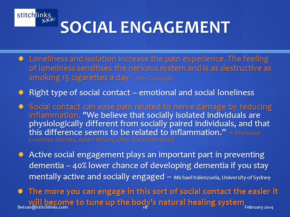 SOCIAL ENGAGEMENT Loneliness and isolation increase the pain experience.
