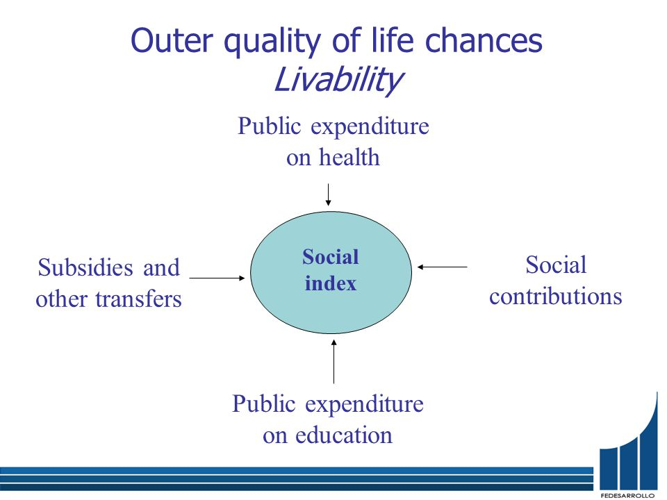 Public expenditure on health Public expenditure on education Social contributions Subsidies and other transfers Social index Outer quality of life chances Livability