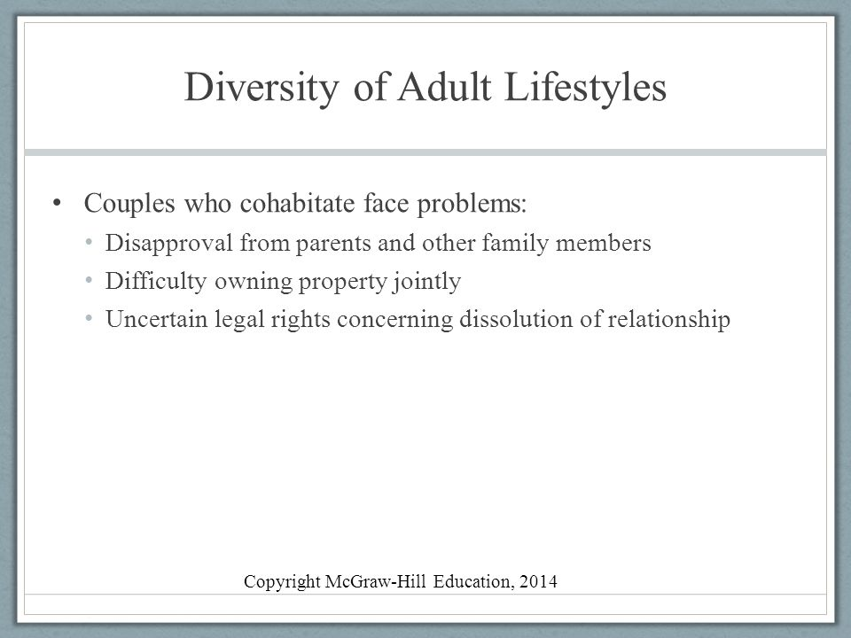 Diversity of Adult Lifestyles Couples who cohabitate face problems: Disapproval from parents and other family members Difficulty owning property joint