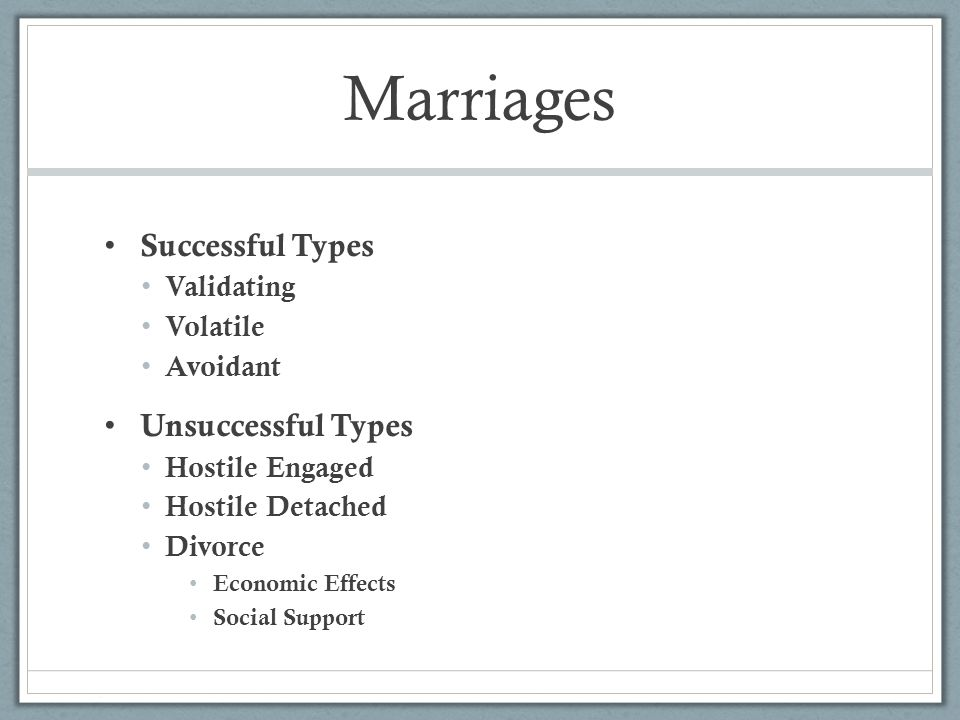 Marriages Successful Types Validating Volatile Avoidant Unsuccessful Types Hostile Engaged Hostile Detached Divorce Economic Effects Social Support