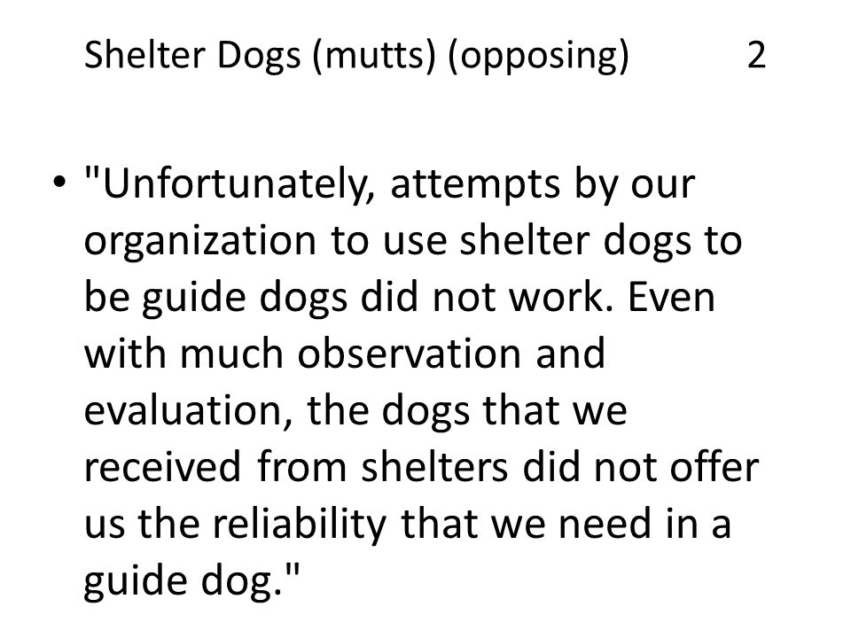 Shelter Dogs (mutts) (opposing) 2 Unfortunately, attempts by our organization to use shelter dogs to be guide dogs did not work.