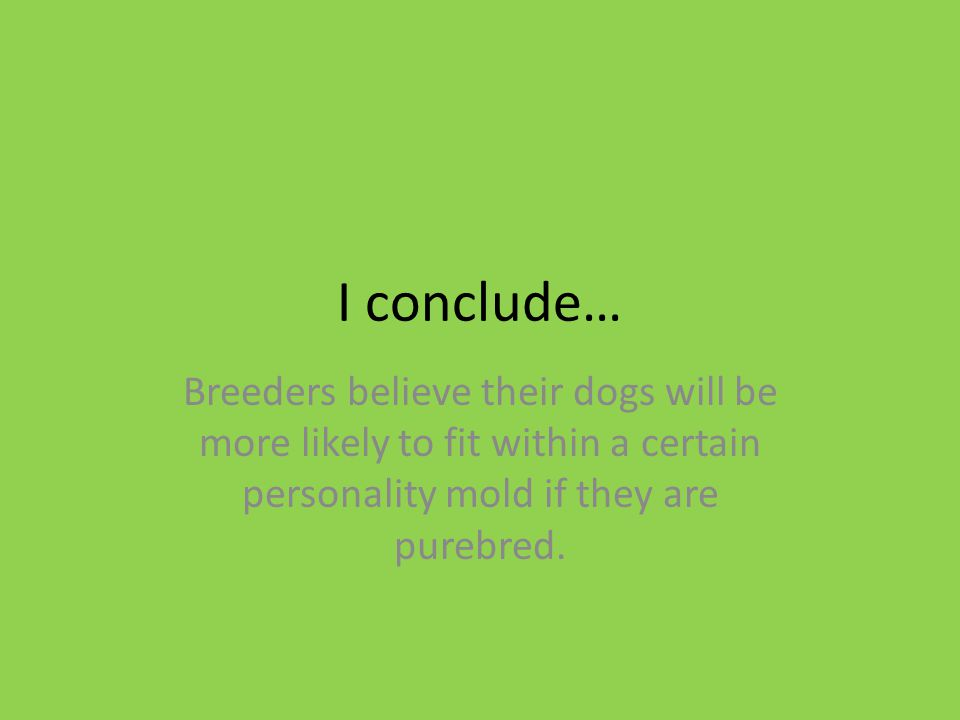 I conclude… Breeders believe their dogs will be more likely to fit within a certain personality mold if they are purebred.