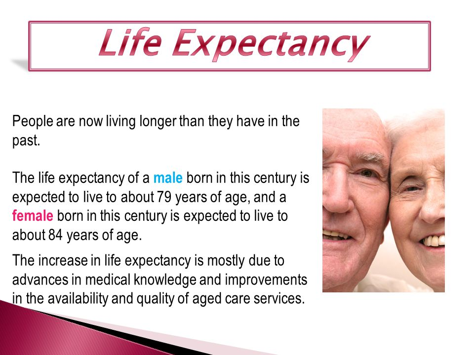 People are now living longer than they have in the past. The life expectancy of a male born in this century is expected to live to about 79 years of a