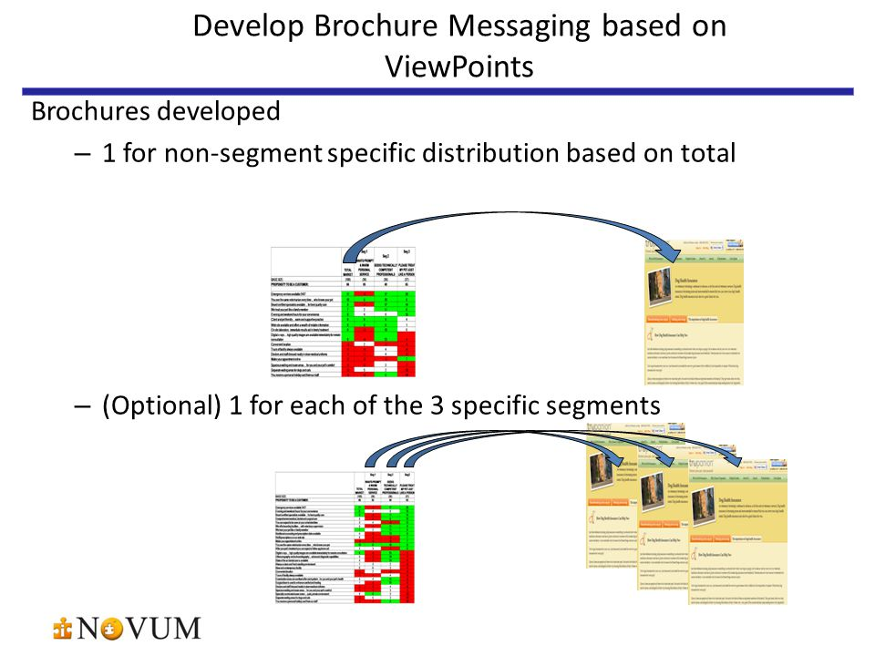 Develop Brochure Messaging based on ViewPoints Brochures developed – 1 for non-segment specific distribution based on total – (Optional) 1 for each of the 3 specific segments