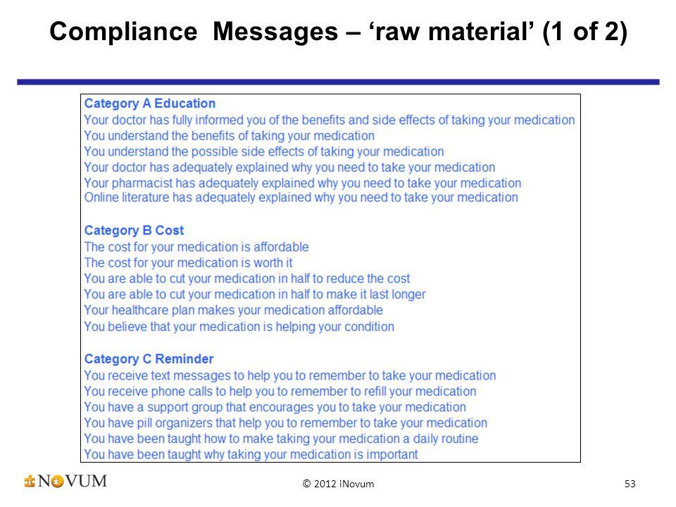 53 Compliance Messages – 'raw material' (1 of 2) © 2012 iNovum