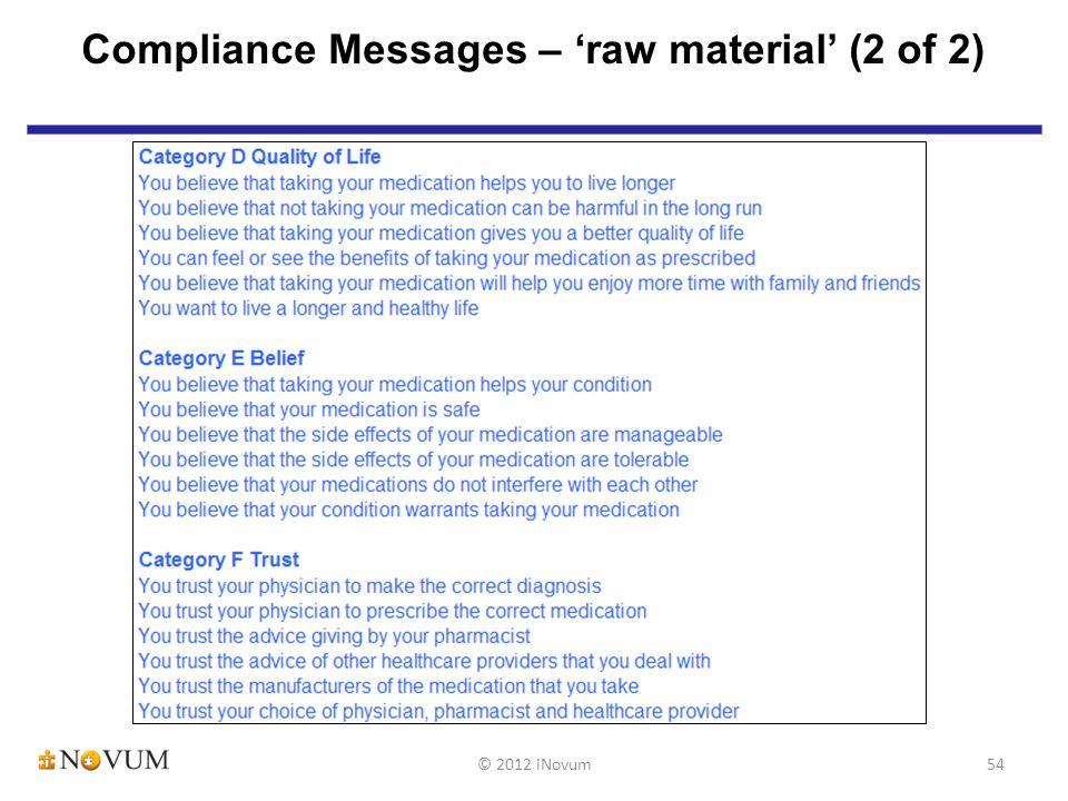 54 Compliance Messages – 'raw material' (2 of 2) © 2012 iNovum
