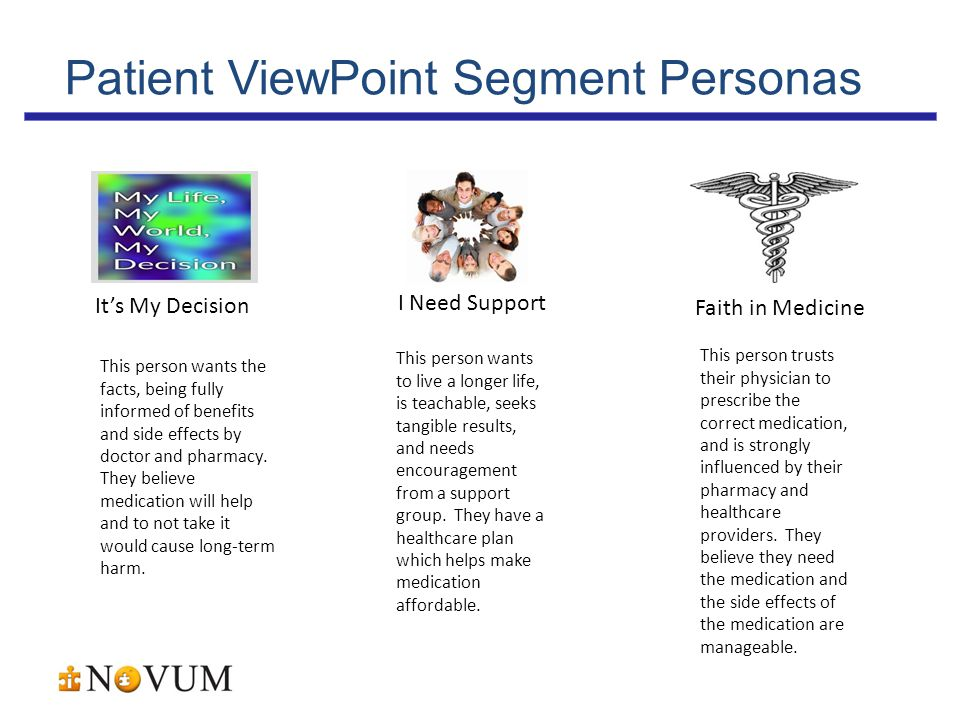 Patient ViewPoint Segment Personas I Need Support It's My Decision Faith in Medicine This person wants to live a longer life, is teachable, seeks tangible results, and needs encouragement from a support group.