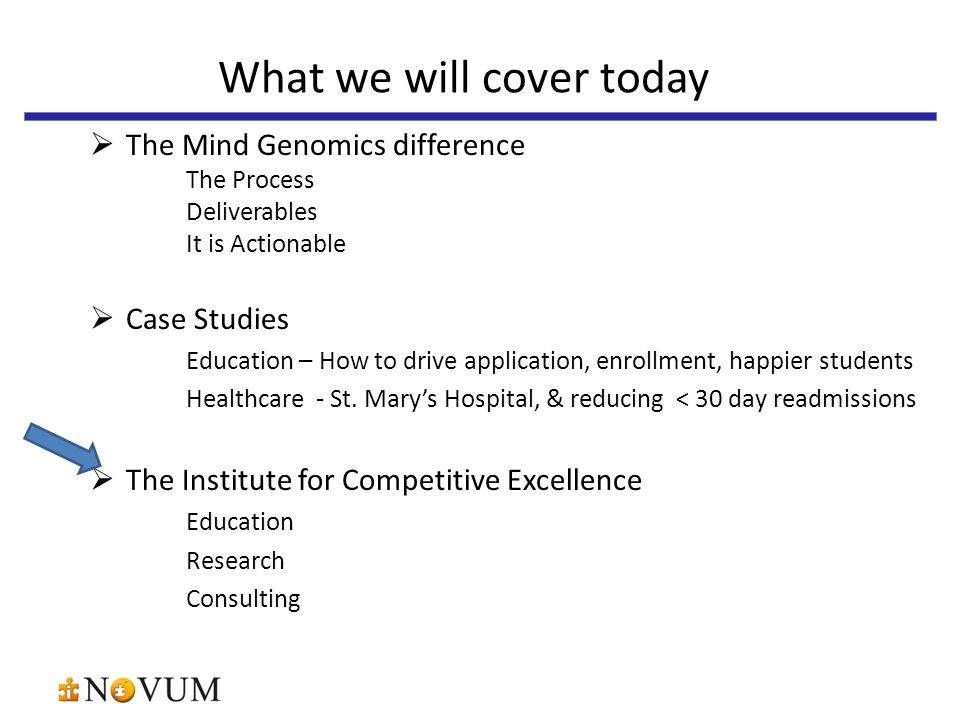  The Mind Genomics difference The Process Deliverables It is Actionable  Case Studies Education – How to drive application, enrollment, happier students Healthcare - St.