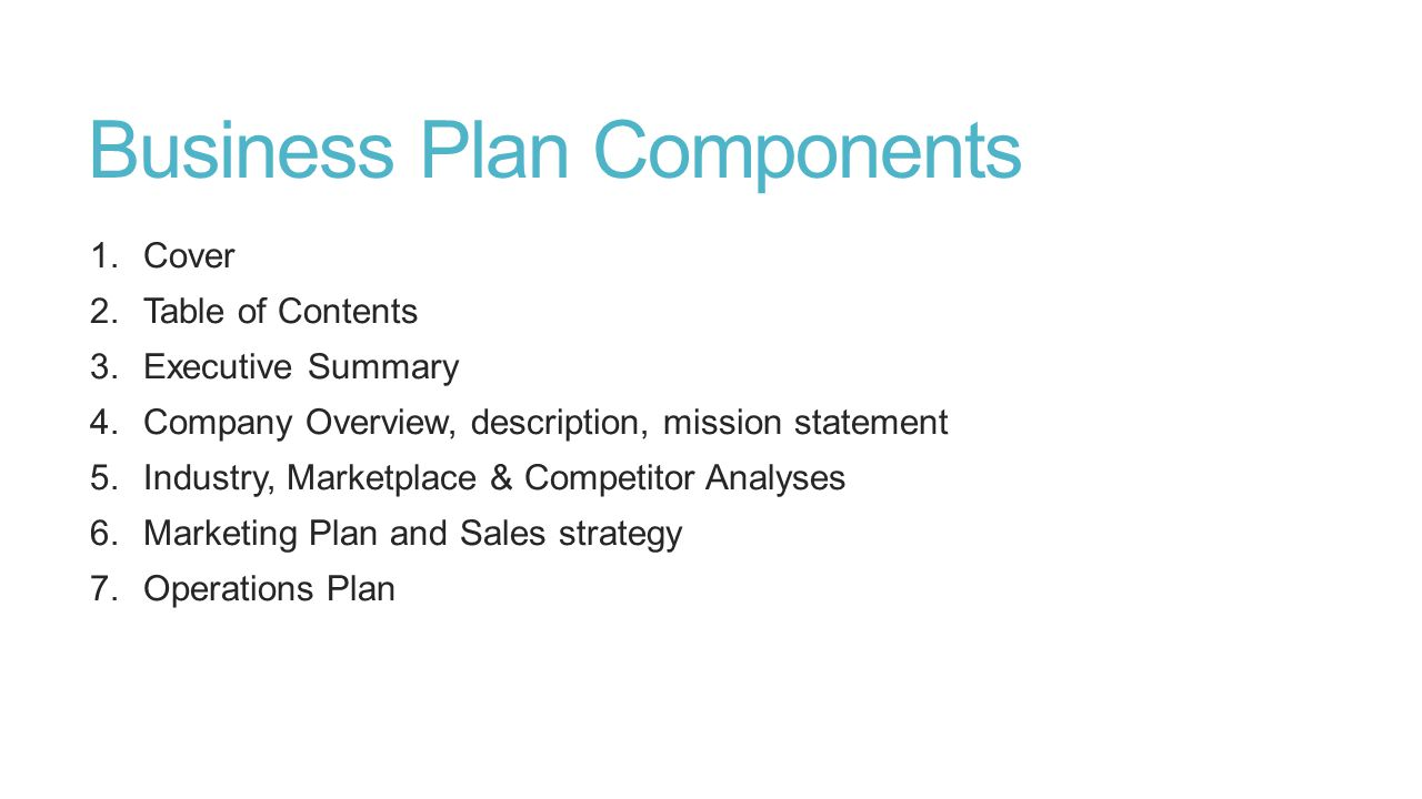 Business Plan Components 1.Cover 2.Table of Contents 3.Executive Summary 4.Company Overview, description, mission statement 5.Industry, Marketplace &
