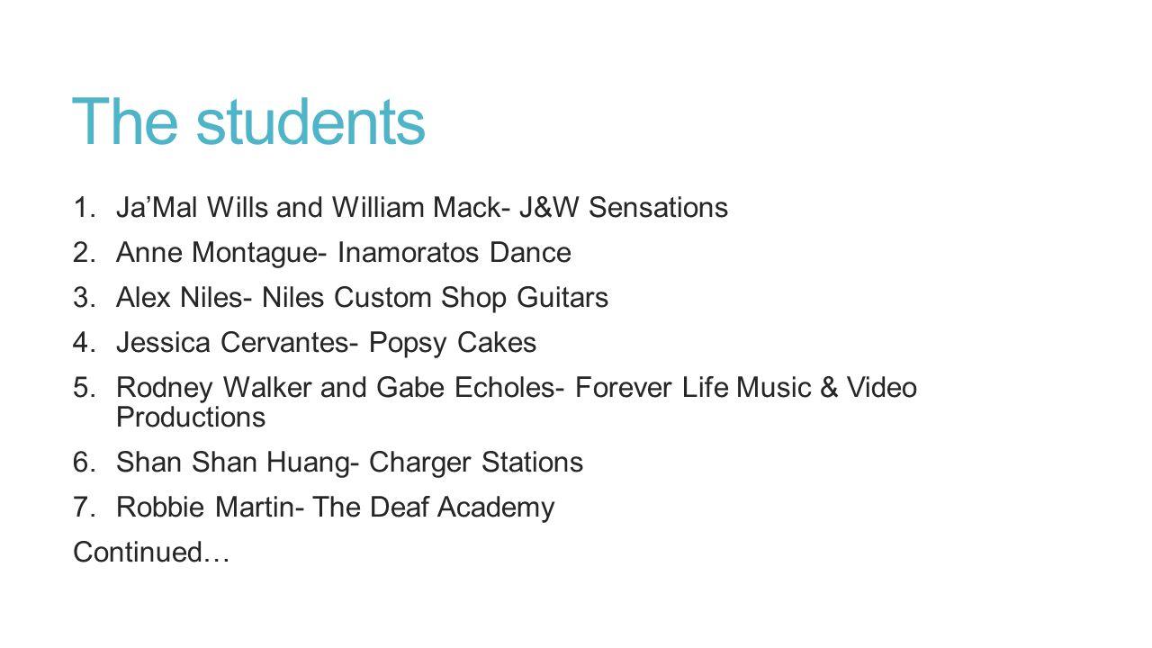 The students 1.Ja'Mal Wills and William Mack- J&W Sensations 2.Anne Montague- Inamoratos Dance 3.Alex Niles- Niles Custom Shop Guitars 4.Jessica Cerva